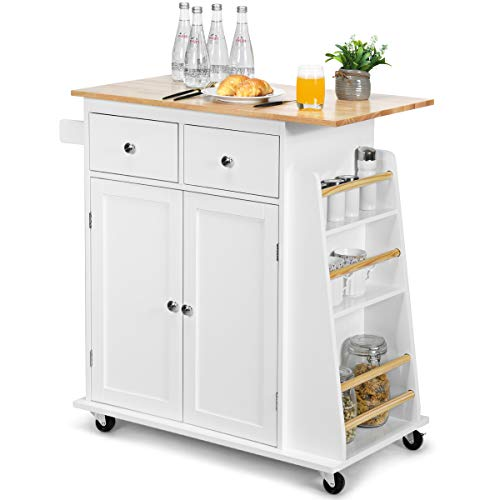 Rolling Wood Trolley with Storage Cabinet