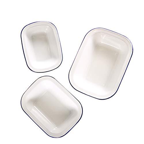 Webake Enamelware Roasting Pan 3 Pack Enameled Steel Oblong Pie Pan Pie Dish Roaster Pan Food Containers, Solid White with Blue Rim