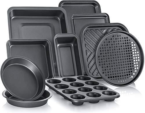 PERLLI 10-Piece Non-Stick Bakeware Set, Includes Oven Crisper