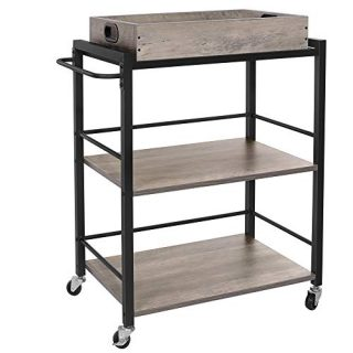 VASAGLE ALINRU Kitchen Serving Cart with Removable Tray, 3-Tier Kitchen Utility Cart on Wheels with Storage, Universal Casters with Brakes, Leveling Feet, Greige and Black ULRC072B02