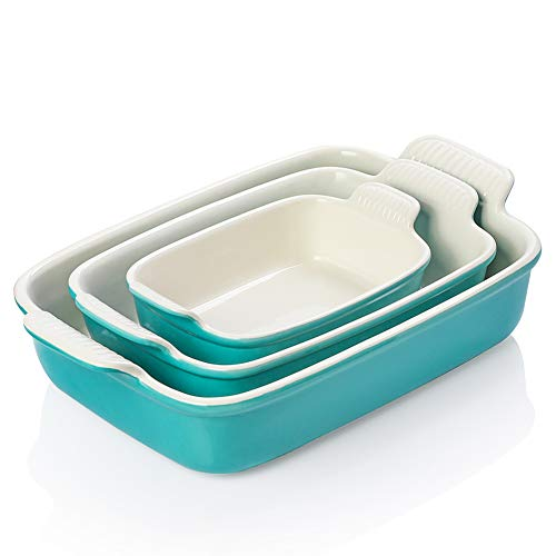 SWEEJAR Porcelain Bakeware Set for Cooking, Ceramic Rectangular baking dish Lasagna Pans for Casserole Dish, Cake Dinner, Kitchen, Banquet and Daily Use, 13 x 9.8 inch (Turquoise)