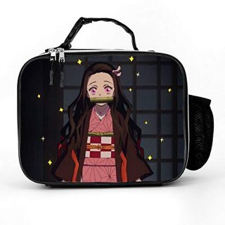 Demon Slayer Anime Durable Lunch Tote Bag for Women Men Kids, Reusable Cooler Lunch Box Soft Detachable Handle Bag for Work Picnic School Beach