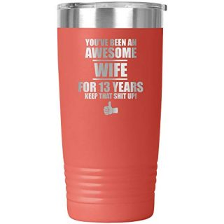 13th Anniversary For Wife Tumbler Travel Mug Cup