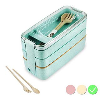 Bento Box Japanese Lunch Box with Dividers 900 ml - Leakproof Eco lunchbox for Kids and Adults with Lunch Bag- BPA FREE (Green)