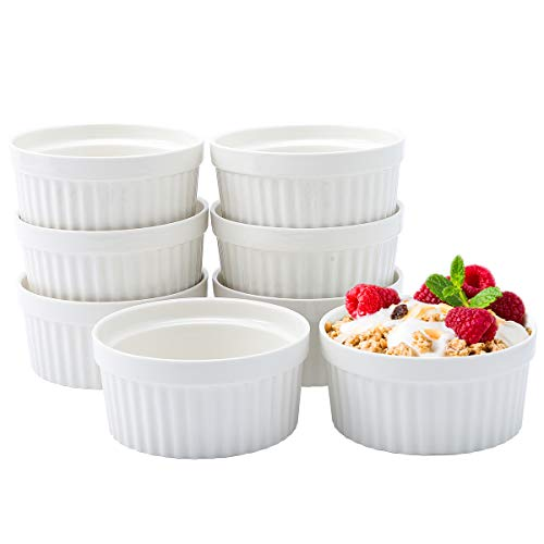 JOLLY CHEF 8 OZ Ramekins Bowls,Set of 8 Souffle Dishes Ramekins for Creme Brulee Dishes,Pudding, Custard Cups, Classic Porcelain Ramekins for Baking, Oven Safe, White