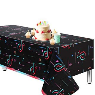 """TIK Tok Tablecloth,Extra-Large 108""""x54"""" Disposable Table Cover, Ideal Party Supplies for Birthday Decoration (4)"""