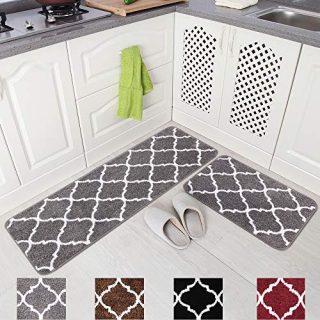 "Carvapet 2 Pieces Microfiber Moroccan Trellis Non-Slip Soft Kitchen Mat Bath Rug Doormat Runner Carpet Set, 17""x48""+17""x24"", Grey"