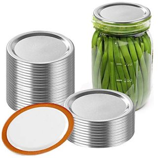 24pcs Wide Mouth Canning Lids Bands, Split-Type Leak Proof for Mason Jar Canning Lids Kitchen Food Container Covers, Easy Clean(24pcs Lids)