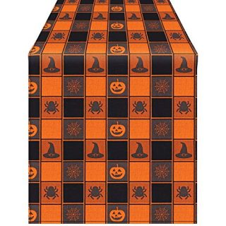 Aneco Halloween Table Runner Halloween Cotton Black Orange Check Plaid Table Runner for Halloween Indoor Outdoor Events 13 x 108 Inches