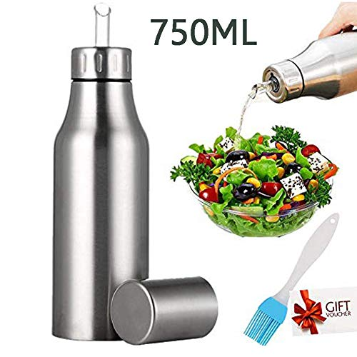Nifogo Oil Bottle Pot Kitchen Stainless Steel Olive Oil/Vinegar/Sauce Cruets Dispenser, Stainless Steel Pour Spout, Cooking Oil Vinegar Dispenser Set for Kitchen and BBQ (750ml+Oil Brush)