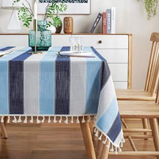 AmHoo Striped Tassel Tablecloth Stitching Rectangle Table Cloth Cotton Linen Fabric Table Cover for Kitchen Dinning Tabletop 54 x 70 Inch Blue