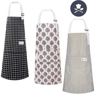 3 Pack Cotton Linen Cooking Aprons with Pocket Adjustable Kitchen Apron Soft Chef Aprons for Women and Men Cooking or Baking