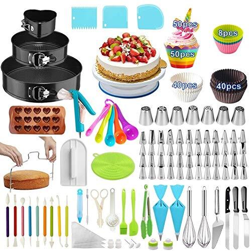 Cake Decorating Supplies,393 PCS Cake Decorating Kit 3 Packs Springform Cake Pans, Cake Rotating Turntable,48 Piping Icing Tips,7 Russian Nozzles, Baking Supplies,Cupcake Decorating Kit