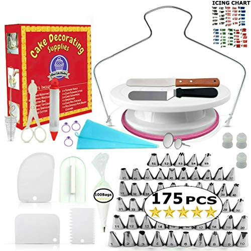 Cake Decorating Supplies - (175 PCS SPECIAL CAKE DECORATING KIT) With 55 PCS Numbered Icing Tips, Cake Rotating Turntable and More Accessories! Create AMAZING Cakes With This Complete Cake Set!