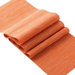 OSVINO Stylish Rectangular Multi-Color Bamboo Braided Stain Resistant Hotel Home Kitchen Dining Table Runner Mat, Orange, 1xTable Runner