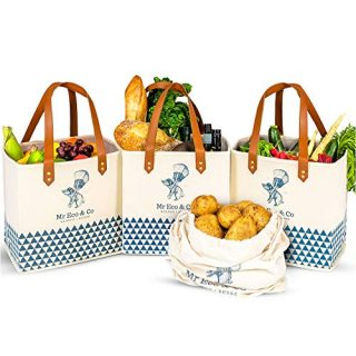 Mr Eco&Co Reusable Grocery Bags Heavy Duty - 4 Pack of Washable, Foldable Shopping Bags Made From Strong, Sturdy Leather Handles and 100% Cotton Canvas, Perfect for Shops, Markets or Storage