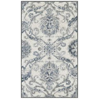 Maples Rugs Blooming Damask Kitchen Rugs Non Skid Accent Area Floor Mat [Made in USA], 1'8 x 2'10, Grey/Blue