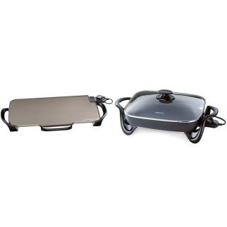 Presto Ceramic 22-inch Electric Griddle with removable handles, One Size, Black & 06852 16-Inch Electric Skillet with Glass Cover