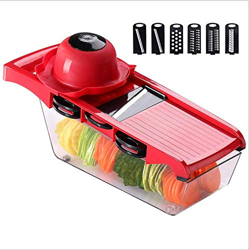 Caithly Multi-function Vegetable Slicer And Fruit Chopper, Kitchen Cutter 6 Interchangeable Blades And Peeler, Hand Protector, Food Storage Container - Potato, Tomato, Onion,Cucumber, Etc. (gules)