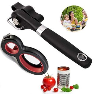 Safety Side Cut Manual Can Opener Kitchen Handheld, 6 in 1 Happy Opener All in One Opener Tool, Jar Opener For Seniors with Arthritis (2 pack)
