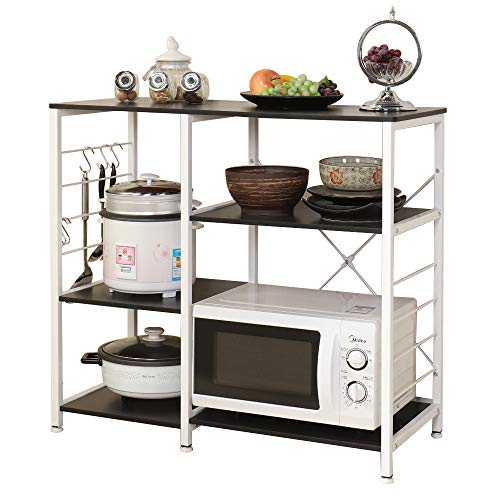SogesPower Kitchen Baker's Rack 3-Tier with Different Height Microwave Stand Storage Rack, Black