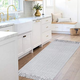 Grey Woven Cotton Rug for Kithen, Small Tassel Rug 2'x4.3' Fringe Reversible, Handwoven Front Door Mat Farmhouse Accent Washable Rug for Laundry Room Porch Bathroom Indoor Outdoor