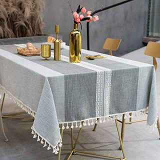 Fuloon Tassel Tablecloth - Cotton Linen Dust-Proof Rectangle Oblong Table Cover for Kitchen Dining Room Party Home Tabletop Decoration (Gray, 55 x 87 Inch)