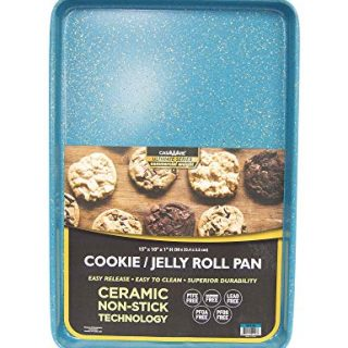casaWare 15 x 10 x 1-Inch Ultimate Series Commercial Weight Ceramic Non-Stick Coating Cookie/Jelly Roll Pan (Blue Granite)