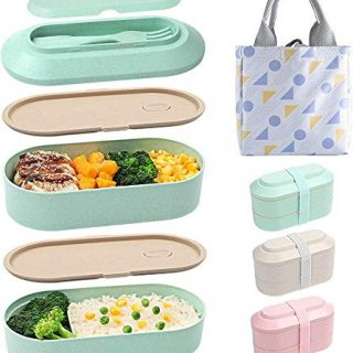 Bento Box for Adults Japanese Lunch Box, 2-In-1 Compartment, Wheat Straw, Leak-proof Eco-Friendly Stackable Bento Lunch Box with Elastic band for Kids and Adults (Green)