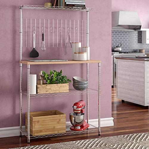 Kitchen Baker's Rack with Wooden Top Shelf, Wire Rack Organizer for Home, Microwave Cooker Pots Stand, Stainless Steel 3 Tier Kitchen Shelving Unit with Mesh Grid, Wood Countertop, Narrow Top Shelf