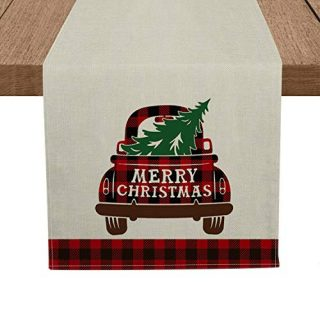 Artoid Mode Red and Black Buffalo Plaid Merry Christmas Truck Table Runner, Seasonal Winter Xmas Holiday Tablecloth Kitchen Dining Table Linen for Indoor Outdoor Home Party Decor 13 x 72 Inch