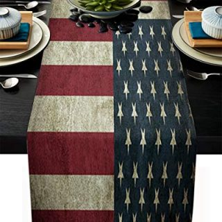 Dining Table Runner for Home Kitchen Dining Table Coffee Table Decorative Retro American Flag Farmhouse Table Linens for Indoor Outdoor Party/Holiday/Wedding/Gathering Everyday Uses 13x70inch
