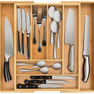 Secura Bamboo Expandable Drawer Organizer, Silverware Utensil Holder and Cutlery Tray for Kitchen, Office, Bathroom and Home (8 Expandable Compartments)