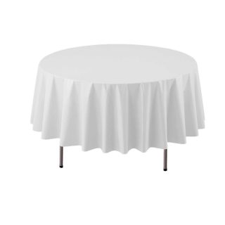 "Party Essentials ValuMost Round Plastic Table Cover Available in 16 Colors, 84"", White"