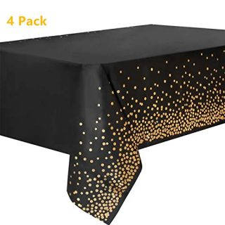 "vannyster 4 Pack Plastic Tablecloths for Rectangle Tables, Disposable Black Party Table Cloths, Gold Dot Confetti Table Covers, for Birthday/Graduation/Anniversary/Event, 54""x108"""