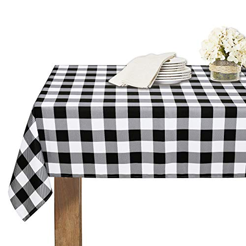 RYB HOME Christmas Tablecloth Waterproof - Wrinkle Resistant Washable Buffalo Plaid Table Cloth for Kitchen Buffet Holiday Dinner Thanksgiving Gift, 60 x 84 Inch, Black and White Checkered