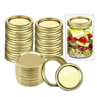 48 Pcs Canning Lids 70mm Regular Mouth Canning Bands and Lids Kitchen Airtight Reusable Jar Lids for Ball, Mason Can Jar Lids (24 Pcs Lids & 24 Pcs Bands)