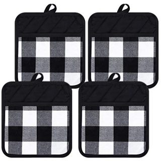 4 Pieces Buffalo Check Pot Holders with Pocket Cotton Potholders Buffalo Plaid Cloth Gloves Pocket Black and White Pot Holders for Kitchen
