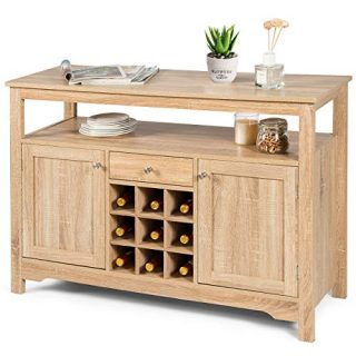Giantex Buffet Server Sideboard, Console Table, Wood Dining Table, Cupboard Table with 2 Cabinets, 1 Drawer and 9 Wine Cabinets, Storage Organizer Kitchen and Dining Room (Natural)