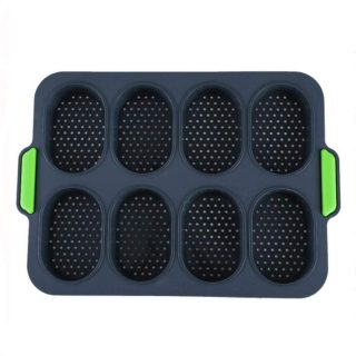 IUAQDP 8 Holes Non-Stick Silicone Bread Baking Tray DIY Mini Kitchen Mold Oval Pastry Tool Baguette Muffin Pan with Handles Dark Gray