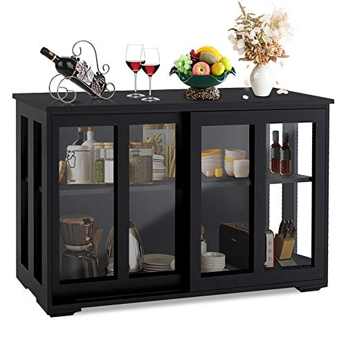Fohufo Buffet Cabinet with Storage, Antique Buffet Table with Sliding Glass Door and Adjustable Shelf, Sideboard Buffet Storage Cabinet for Kitchen, Dining Room, Living Room