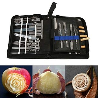 GOTOTOP Agile-Shop Culinary Carving Tool Set 46pc Portable Premium Kitchen Carving Tool Set Fruit Vegetable Food Garnishing Cutting Slicing Garnish Chisel Chef Home Kitchen Tools Kit