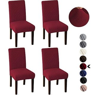 Britimes Chair Covers for Dining Room, Dining Kitchen Stretch Decorative Waterproof Spandex Chair Protectors Cover Set of 4 for Party, Living Room, Hotel, Ceremony, Chairs Wine Red