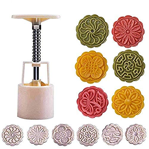 Benran Traditional Mid-autumn Festival DIY Decoration Hand Press Moon Cake Cutter Mold Set (Flower Stamp of 6 50g)