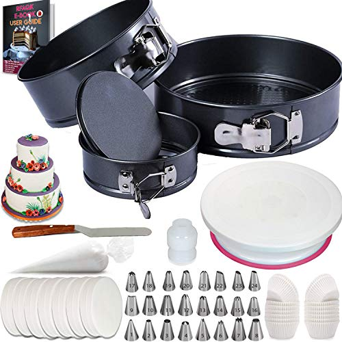 """150 PCs Cake Pan Set for beginner - Springform Pan Set of 3 Round Baking Pans (4""""/7""""/8"""") Inch- Non-stick & Leakproof Bakeware Mold - Cheesecake Pan with Removable Bottom- Free Cake supplies & Ebook"""