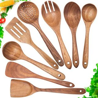 Wooden Spoons for Cooking,Mondayou Nonstick Kitchen Utensil Set,Wooden Spoons Cooking Utensil Set Non Scratch Natural Teak Wooden Utensils for Cooking(Teak 8 Pack)