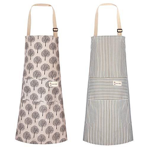 Cotton Linen Cooking Apron Adjustable