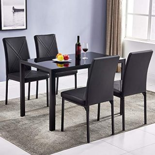 Bonnlo Dining Table Set for 4, Elegant Kitchen Dining Set 5 Pieces Modern Designed Tempered Glass Tabletop with Upholstered Chairs, Black