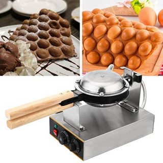 WICHEMI Electric Bubble Waffle Maker Machine Commercial Hong Kong Eggettes Waffle Baker Rotated Non-Stick Egg Waffle Iron Maker 0-250℃ Temperature Adjustable 110V, 1400W