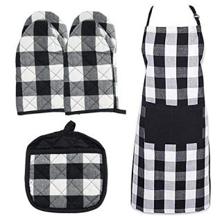 HaiMay 4 Pieces Buffalo Check Pot Gloves Oven Mitts Kitchen Aprons Black and White Plaid Oven Mitts Pot Holders Set Kitchen Collection Check Plaid Gift Set